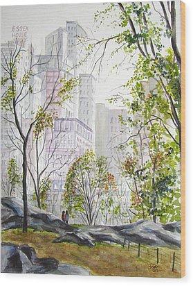 Central Park Stroll Wood Print