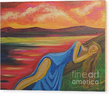 Wood Print featuring the painting Dreaming At Sunrise by Diana Riukas