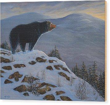 Last Look Black Bear Wood Print by Frank Wilson