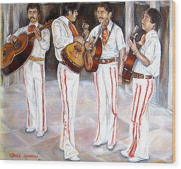 Wood Print featuring the painting Mariachi  Musicians by Carole Spandau