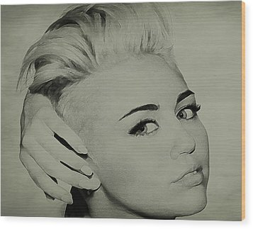 Wood Print featuring the drawing Miley Cyrus  by Brian Reaves