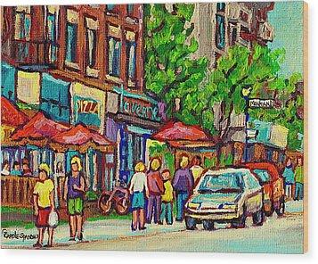 Monkland Tavern Corner Old Orchard Montreal Street Scene Painting Wood Print by Carole Spandau