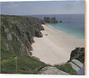 Wood Print featuring the photograph Porthcurno Cove by Jayne Wilson