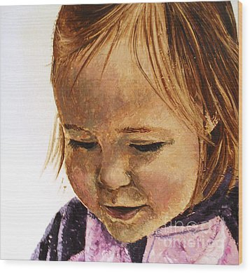 Portrait Of A Girl Wood Print by Tatjana Popovska