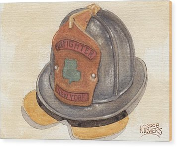 Proud To Be Irish Fire Helmet Wood Print by Ken Powers