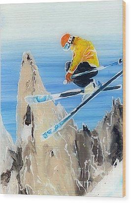 Skiing At Flegere Wood Print by Sara Pendlebury
