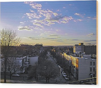 Wood Print featuring the photograph Sunset Row Homes by Brian Wallace