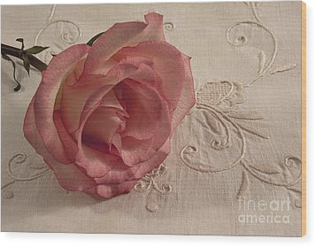 Wood Print featuring the photograph The Beauty Of Just One Rose by Sandra Foster
