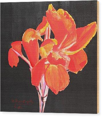 Red Canna Wood Print by M Diane Bonaparte