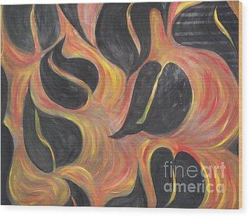 Aces Of Spades On Fire Wood Print by Rachel Carmichael
