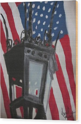 Boston Lightpost Wood Print by David Poyant