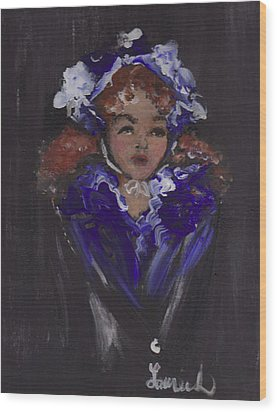 Wood Print featuring the painting Lil Girl Blue by Laurie L