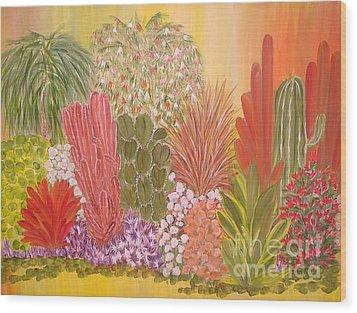 My Cactus Garden Wood Print by Rachel Carmichael