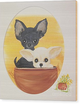 Pups In A Pot Wood Print by Rachel Carmichael