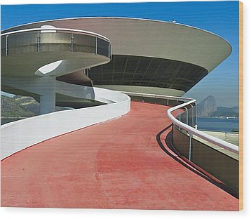 Contemporary Art Museum Niteroi Brazil Wood Print by George Oze