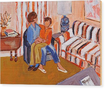 May I Sit On Your Lap Wood Print by Elzbieta Zemaitis