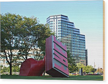 World's Largest Free Stamp Cleveland Ohio Wood Print by Lila Fisher-Wenzel