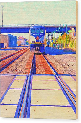 Amtrak Train . Photo Art Wood Print by Wingsdomain Art and Photography