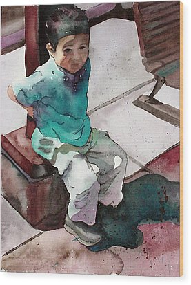 Wood Print featuring the painting Andrew by Yolanda Koh