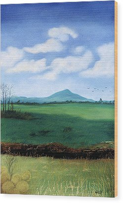 Wood Print featuring the pastel Hermit's Peak by Jan Amiss