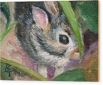 Wood Print featuring the painting Hiding Aceo by Brenda Thour