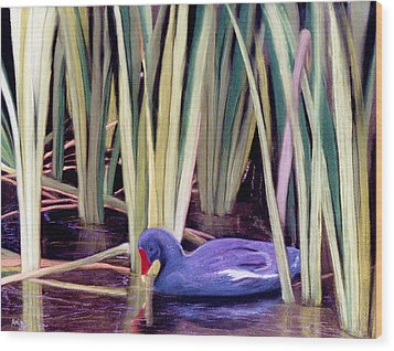 Wood Print featuring the pastel Moorhen by Jan Amiss