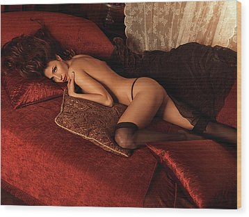 Sexy Young Woman Lying On A Bed Wood Print by Oleksiy Maksymenko