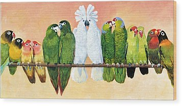 14 Birds On A Stick Wood Print