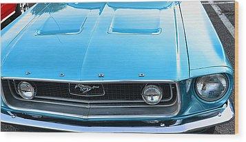 1968 Mustang Fastback Hood Wood Print by Paul Ward