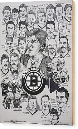 1988 Boston Bruins Newspaper Poster Wood Print by Dave Olsen