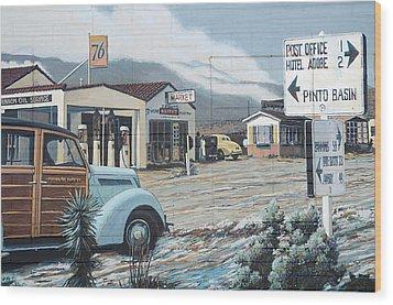 29 Palms Flood Mural Wood Print by Bob Christopher