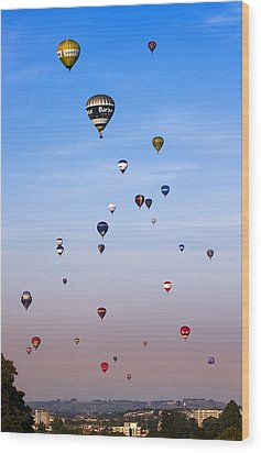 Colorful Balloons On Colorful Sky Wood Print by Angel  Tarantella