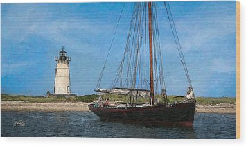 Edgartown Light Wood Print by Michael Petrizzo