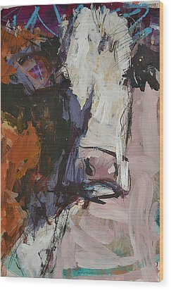 Modern Abstract Cow Painting Wood Print by Robert Joyner