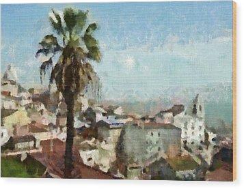 Wood Print featuring the painting Lisbon by Dariusz Gudowicz