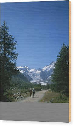 A Couple Walks Toward The Morteratsch Wood Print by Taylor S. Kennedy