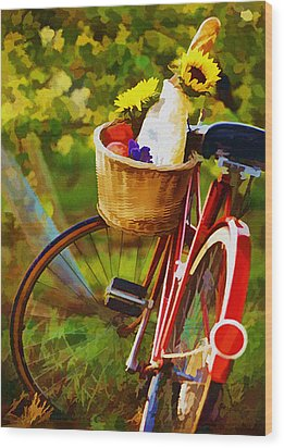 A Loaf Of Bread A Jug Of Wine And A Bike Wood Print by Elaine Plesser