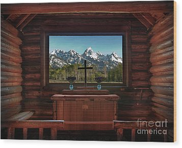 A Pew With A View Wood Print by Sandra Bronstein
