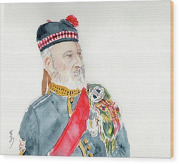 Wood Print featuring the painting A Scottish Soldier by Yoshiko Mishina