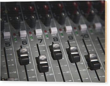 A Sound Mixing Board, Close-up, Full Frame Wood Print by Tobias Titz