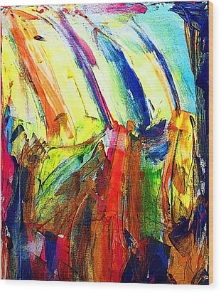 Wood Print featuring the painting Abstract Colored Rain by Jennifer Godshalk