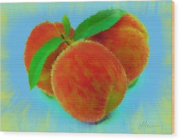 Abstract Fruit Painting Wood Print by Michael Greenaway
