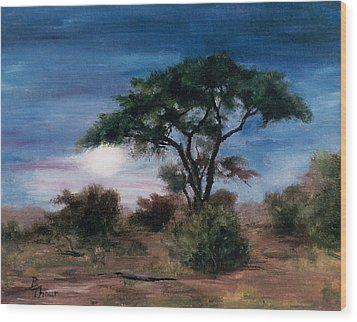 Wood Print featuring the painting African Moon by Brenda Thour