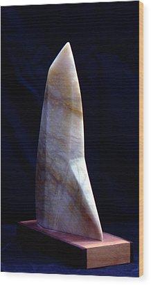 Alabaster Sail Wood Print by Bert Garrison