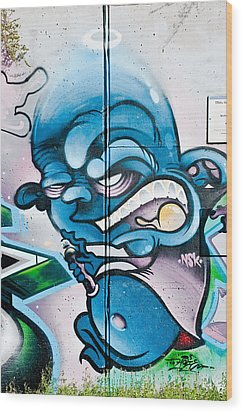 Angry Blue Creature With A Spray-paint Can Wood Print by Yurix Sardinelly