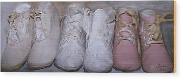 Antique Baby Shoes Wood Print by Linda Scharck