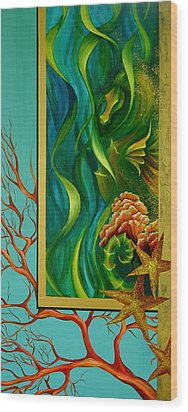 Wood Print featuring the painting Aquatica by Dina Dargo
