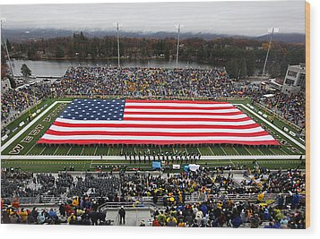 Army An American Flag Spans Michie Stadium Wood Print by Associated Press