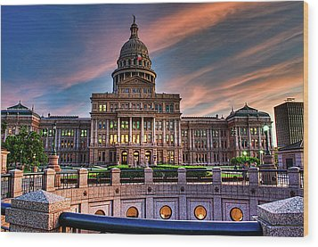 Wood Print featuring the photograph Austin Capitol by John Maffei