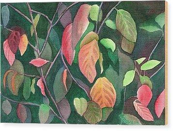 Autumn Leaves Wood Print by Anne Havard